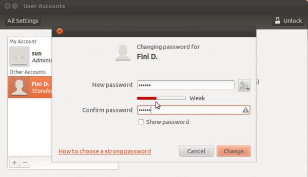 Ubuntu 11.10 Specify User Password