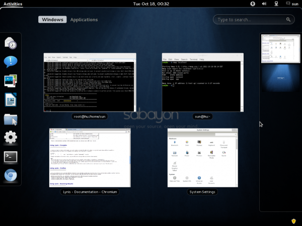 Sabayon GNOME 3 Activities