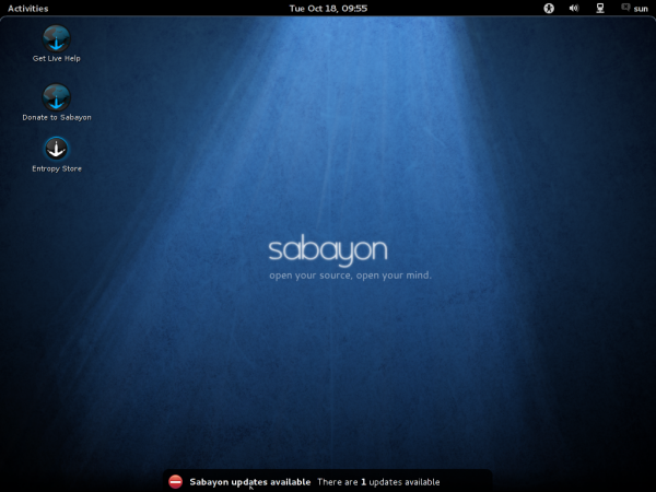 Sabayon GNOME 3 Desktop