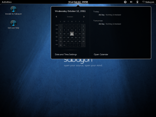 Sabayon 7 GNOME 3 Desktop