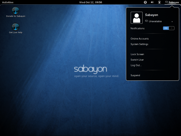 Sabayon 7 GNOME 3