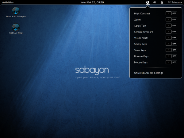 Sabayon 7 GNOME 3 Accessibility
