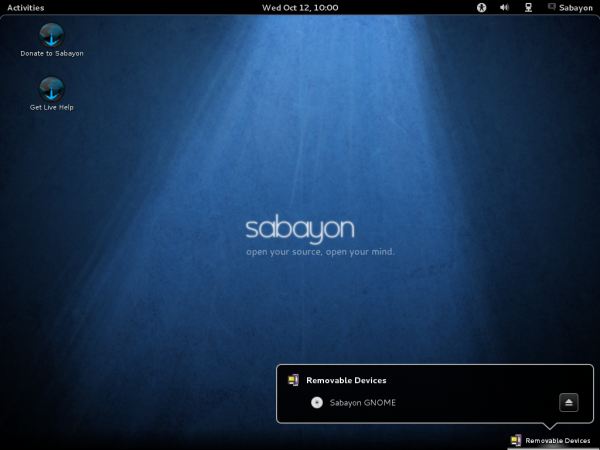 Sabayon 7 GNOME 3 Notification