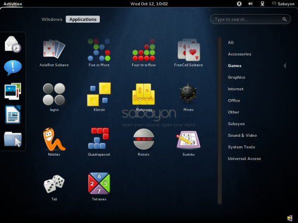 Sabayon 7 GNOME 3 Games