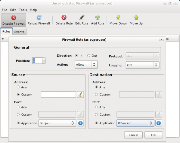 Sabayon 7 GNOME Firewall