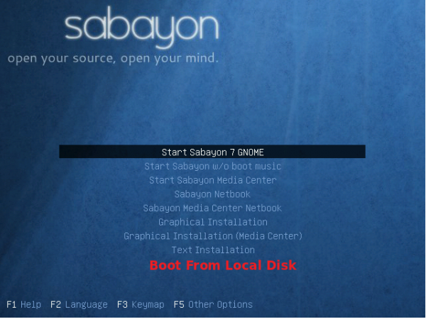 Sabayon 7 GNOME Boot Menu