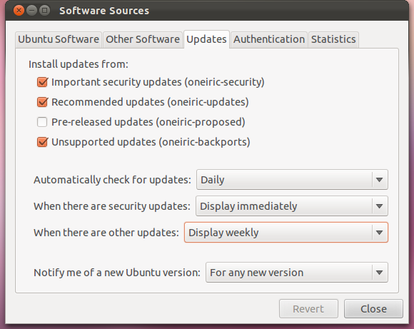 Ubuntu 11.10 Updates Settings