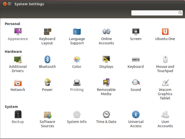 Ubuntu 11.10 System Settings