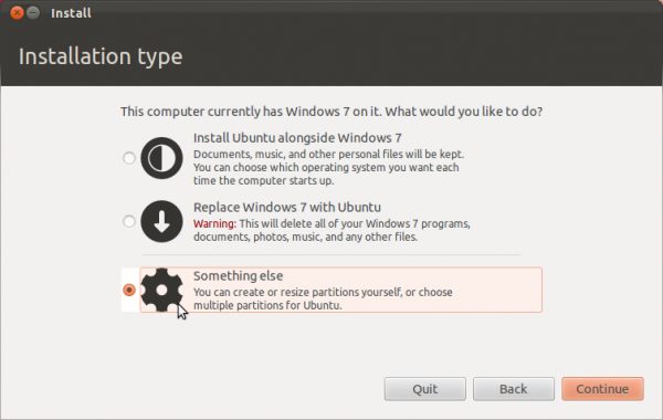 Ubuntu 11.10 Partition Methods