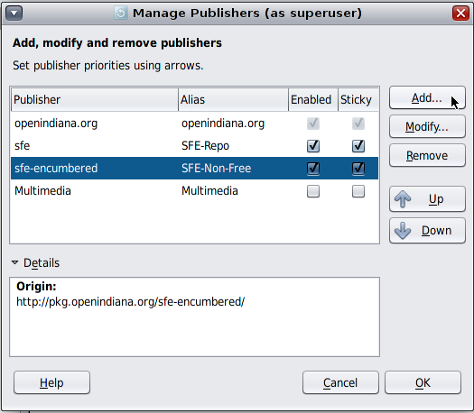 Manage Publisher OpenIndiana 151a