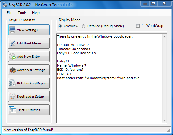 Windows 7 EasyBCD Defaults