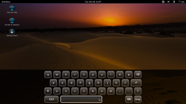 Onscreen Keyboard Sabayon 7 GNOME 3