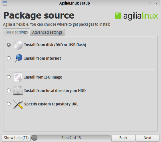 Agilia Install Source Options