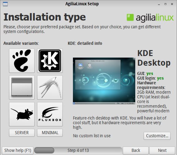 Agilia KDE Install Option