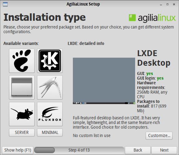 Agilia LXDE Install Option