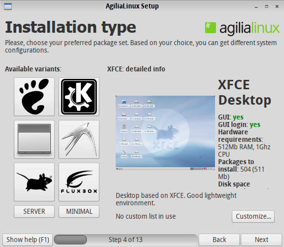 Agilia Xfce Install Option
