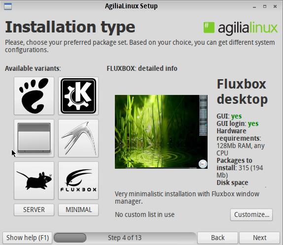 Agilia Fluxbox Install Option