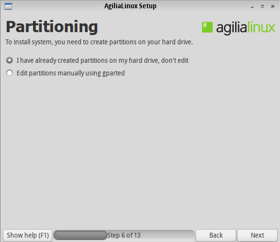 Agilia Partitioning