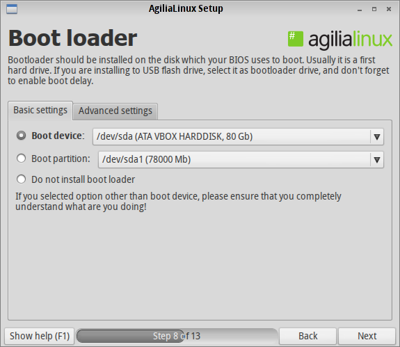 Agilia Bootloader Options