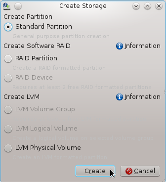 Fedora 16 Standard Partition