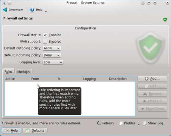 Chakra Firewall Enabled