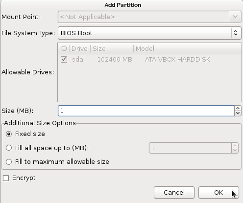 Fedora 16 BIOS Boot Partition