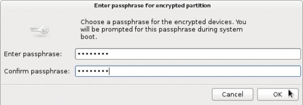 Fedora 16 Encryption Passphrase