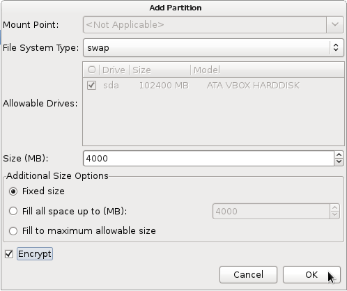 Fedora 16 Swap Partition