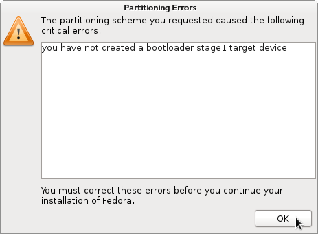 Fedora 15 Partition Error