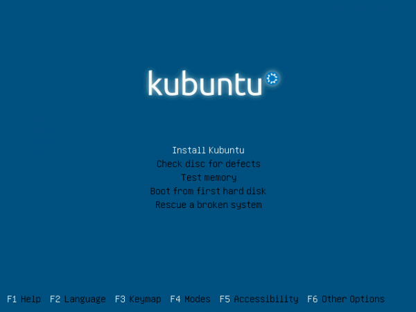 Kubuntu 11.10 Alternate Boot Menu