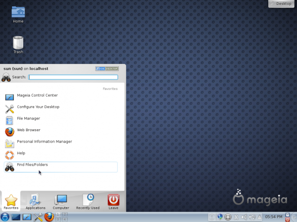 Mageia 2 KDE Desktop Kickoff