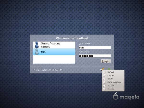 Mageia 2 KDE Login