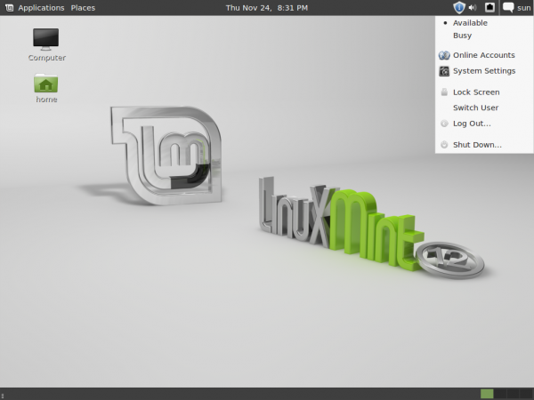 Linux Mint 12 screenshot preview