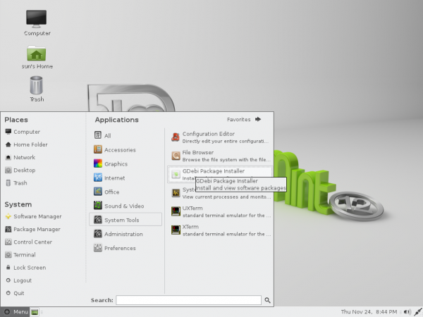 Mint 12 Mate Desktop Menu