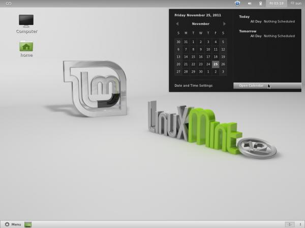Mint 12 GNOME 3 Calendar