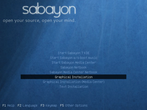 Sabayon 7 KDE Boot Menu