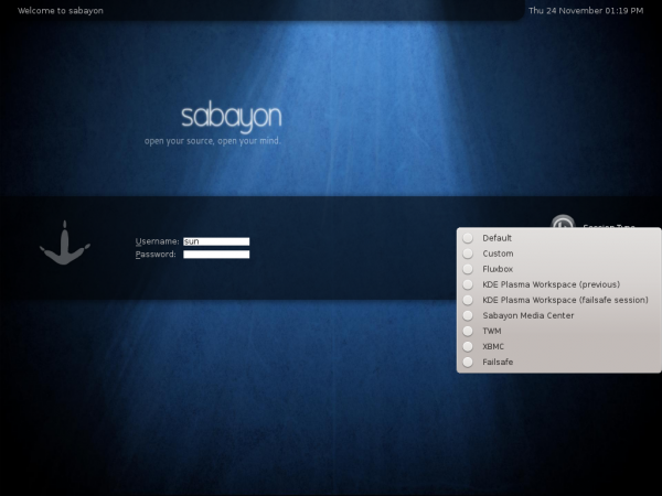 Sabayon 7 KDE Login Screen