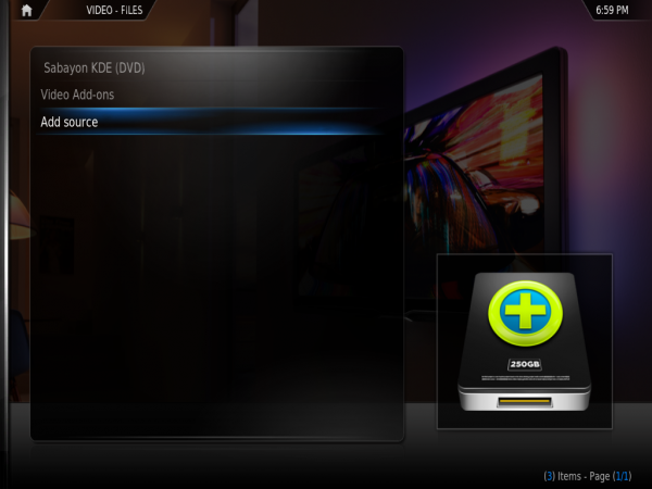 Sabayon XBMC Video Source