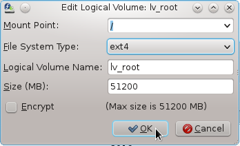Fedora 16 Root Logical Volume