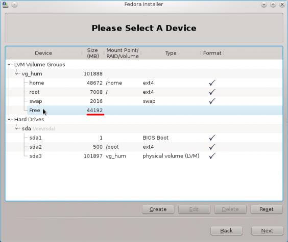 Fedora 16 Free Space