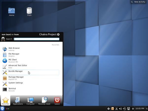 Chakra Desktop Kickoff Menu