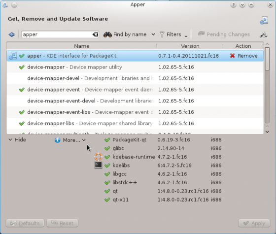 Fedora 16 Apper Applications