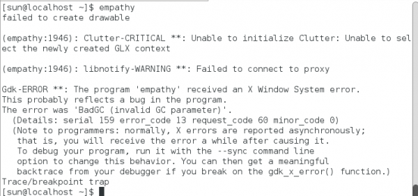 Linpus Lite 1.6 Empathy Error