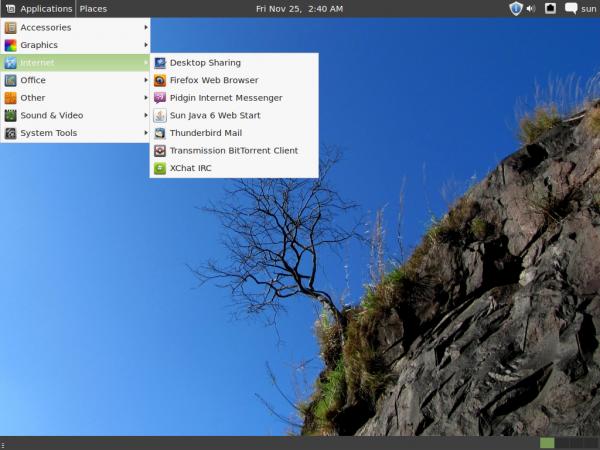 Linux Mint 12 GNOME 3 Fallback Menu