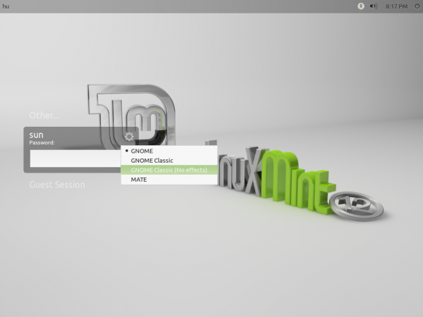 Linux Mint 12 Login