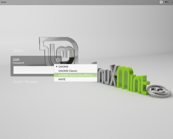 Default Linux Mint 12 Login Screen