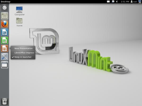 Linux Mint 12 Unity Desktop