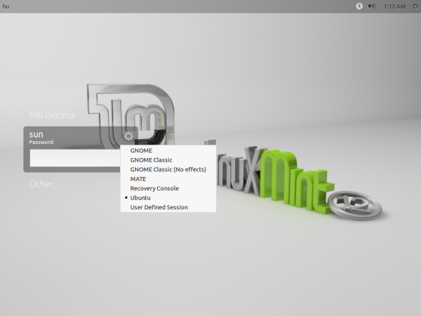 Linux Mint 12 Login Options