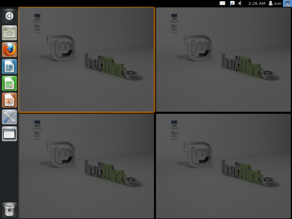 Linux Mint 12 Unity Workspace