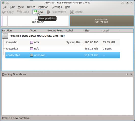 Chakra Linux KDE Partition Manager